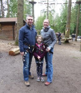 Cath Nicholls with her partner Stuart and daughter Lottie